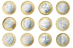 Euro, 1, Coin, Currency, Europe Stock Photo