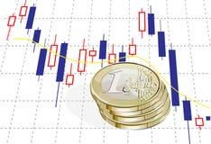 euro 1 en grafiek Royalty-vrije Stock Fotografie