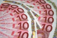 Euro 10 contas Imagem de Stock Royalty Free