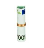 euro 100 con l'anello di cerimonia nuziale Fotografie Stock