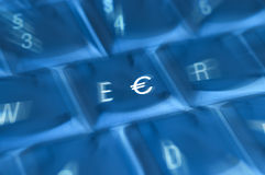 EURO/€. � sign on transparency keyboard stock photo