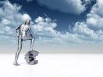 Euro. Sculpture man and euro symbol under cloudy blue sky - 3d illustration Stock Image