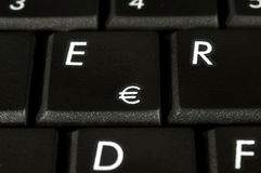 Euro. Close-up of a computer keyboard key with an Euro sign Stock Image
