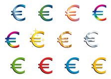 Euro. Set of Euro icon in 12 different styles royalty free illustration