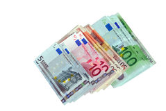Euro. Pile of the bills of the euro miscellaneous value Royalty Free Stock Photography