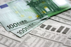 Euro. And newspaper Stock Photo