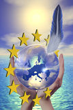 Euro 2. 3d Picture of symbol europe whit stars Stock Photo