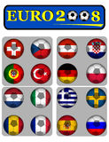 Euro 2008. Championship of soccer in Austria and Switzerland with flags Stock Image