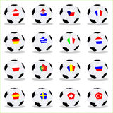 Euro 2008 balls. Vector illustration of euro 2008 balls with the flags Royalty Free Stock Photo