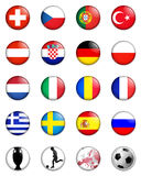 Euro 2008 european championship. A selection of badge like images showing the flags of all the competing countries of the 2008 uefa european championship Royalty Free Stock Photography