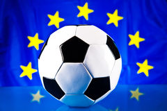 Euro 2012. Soccer ball and european union flag Royalty Free Stock Photography