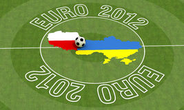 Euro 2012. Ukraine and poland map in a soccer midfield - rendering Stock Photo