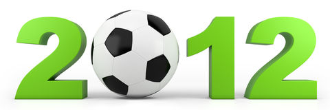 EURO 2012. Green year 2012 numbers with soccer ball - high quality 3d illustration Royalty Free Stock Photo