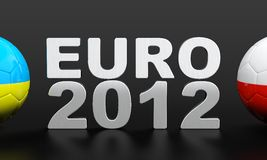 Euro 2012. 3D render of soccer balls and 2012 number on black background Stock Images