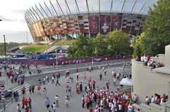 EURO 2012. Poland fans outside the National Stadium Warsaw after the UEFA EURO 2012 Group A match against Greece on June 8, 2012 in Warsaw, Poland Stock Image