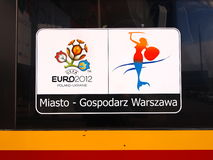 Euro 2012 Banner on the bus in Warsaw, Poland. Warsaw will host the opening match of the UEFA Euro 2012 on June 8 Stock Images