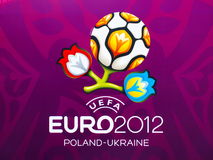 Euro 2012 Banner in Warsaw, Poland. Warsaw will host the opening match of the UEFA Euro 2012 on June 8 Stock Photo