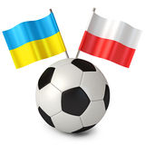 Euro 2012 cup. 3d rendering of a soccer ball with flags Poland Ukraine. Euro 2012 cup. White background Stock Image