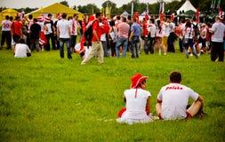 Euro 2012. De verdedigers van de voetbal in ventilatorstreek Royalty-vrije Stock Afbeeldingen