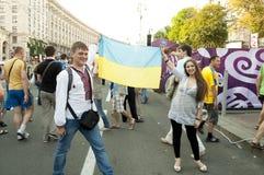 EURO 2012 de zone de ventilateur à Kiev Photos libres de droits