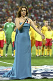 Euro 2012 die om (Groep D) kwalificeert Roemenië-Frankrijk Stock Foto's