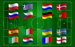 Euro 2012 do UEFA e campo de futebol da bandeira ilustração royalty free