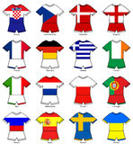 Euro 2012 european championship flag strips. A selection of football strips showing the flags of all the competing countries of the 2012 european championship Stock Images