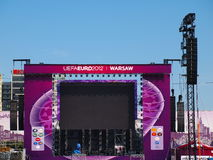 Euro 2012 Fanzone in Warsaw, Poland. Warsaw will host the opening match of the UEFA Euro 2012 Stock Photos