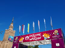 Euro 2012 Fanzone in Warshau, Polen Royalty-vrije Stock Foto's