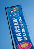 Euro 2012 Flag in Warsaw, Poland. Warsaw will host the opening match of the UEFA Euro 2012 on June 8 Stock Photography