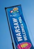 Euro 2012 Flag in Warsaw, Poland Stock Photography