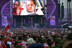 Euro 2012 fun zone in Warsaw. During the football match Poland-Czech Republic in June 2012 Royalty Free Stock Image