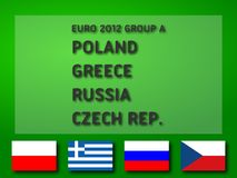 Euro 2012 Group A. UEFA Euro 2012 Group A: Poland, Greece, Russia, Czech Republic. Ready to use illustration Stock Images