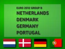 Euro 2012 Group B. UEFA Euro 2012 Group B: Netherlands, Denmark, Germany, Portugal. Ready to use illustration Stock Photo