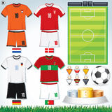 Euro 2012 Group B. Soccer Collection. Euro 2012 Group D. Netherlands, Danish, Germany, Portuguese Teams clip art Royalty Free Stock Photos