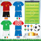 Euro 2012 Group C. Soccer Collection. Euro 2012 Group C. Abstract National Football Uniform with Variety Objects Stock Image