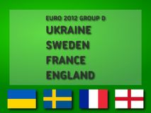 Euro 2012 Group D. UEFA Euro 2012 Group D: Ukraine, Sweden, France, England. Ready to use illustration Royalty Free Stock Photo