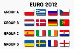 Euro 2012 groups. UEFA Euro 2012 groups. Ready to use illustration Stock Photo