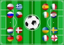 Euro 2012 Groups. Illustration of the sixteen participants in the 2012 UEFA European Football Championship clustered in four groups. Each participant is Stock Photos
