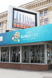 Euro 2012 Host City Kharkiv. Subway station decorated with logos of Euro 2012 in Kharkiv, Ukraine Royalty Free Stock Images