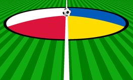 Euro 2012 Kick Off. Illustration of a football ball positioned at the centre of the field ready to be kicked off for Euro 2012: 8th of June. Flags of Poland and Royalty Free Stock Image