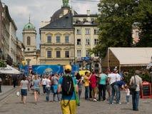 Euro 2012 Lviv. Ukraine. Center of the town. 09.05.2012 championship of football Stock Photography