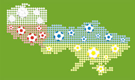 Euro 2012 - map of polish and ukrainian. The world`s most popular sport, euro championschips, flag of polish and ukrainian stock illustration