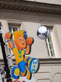 Euro 2012 Mascot. On Krakowskie Przedmiescie Street in Warsaw, Poland. Warsaw will host the opening match of the UEFA Euro 2012 on June 8 Stock Image