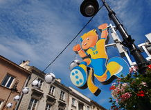 Euro 2012 Mascot. On Krakowskie Przedmiescie Street in Warsaw, Poland. Warsaw will host the opening match of the UEFA Euro 2012 on June 8 Stock Photos