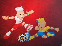 Euro 2012 Mascots Banner in Warsaw Stock Images