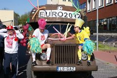 Euro 2012 opening. At universities - students march on the street in costumes. Lublin, 4.May.2011 Stock Image