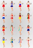 Euro 2012 Participant Countries. Illustration of female models wearing a dress with the flag of each of the participant countries in the European Football Royalty Free Stock Images
