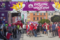 Euro 2012 - Poland. Entrance gates to Fan Zone for Euro 2012. The Czech fans before the game between Czech and Russia Stock Images