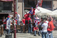 Euro 2012 - Poland. The Czech fans. Royalty Free Stock Photo
